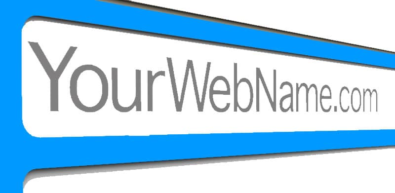 Web browser address bar shown with YourWebName.com